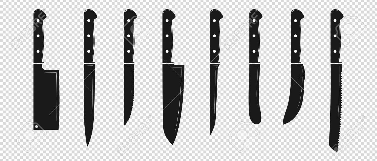 Kitchen Knife Set Vector Illustration Isolated On Transparent