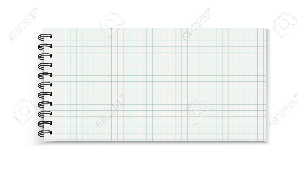 Spiral Notebook Template - Empty Cell Grid Striped Vector Illustration - Isolated On White Background - 150573334