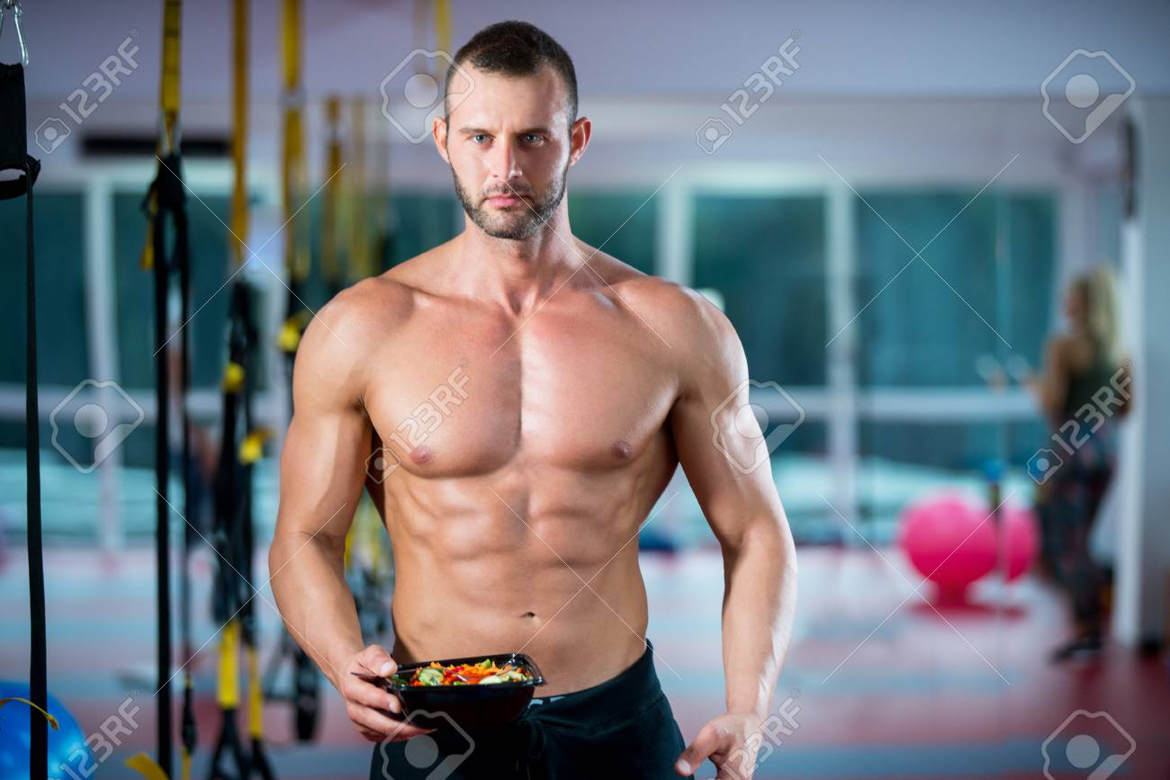 Eating Food Salad Bodybuilding Bodybuilder Fitness Gym Body Builder Stock Photo Picture And Royalty Free Image Image 91935017