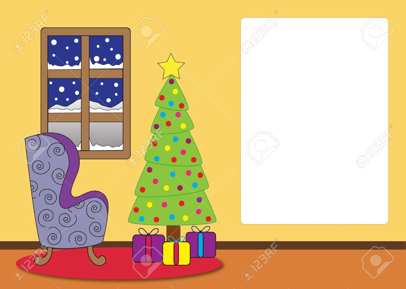 Living room with a window, lounge chair, christmas tree and presents. Card with text space. Stock Photo - 11297763