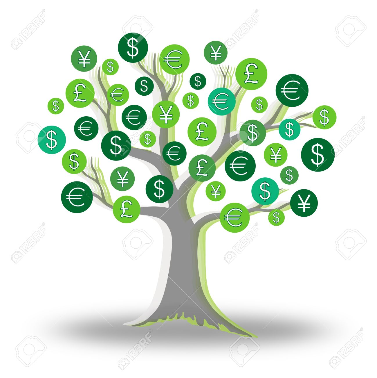Green tree growing currency with euros, pounds, dollars and yen sign Stock Photo - 11297782