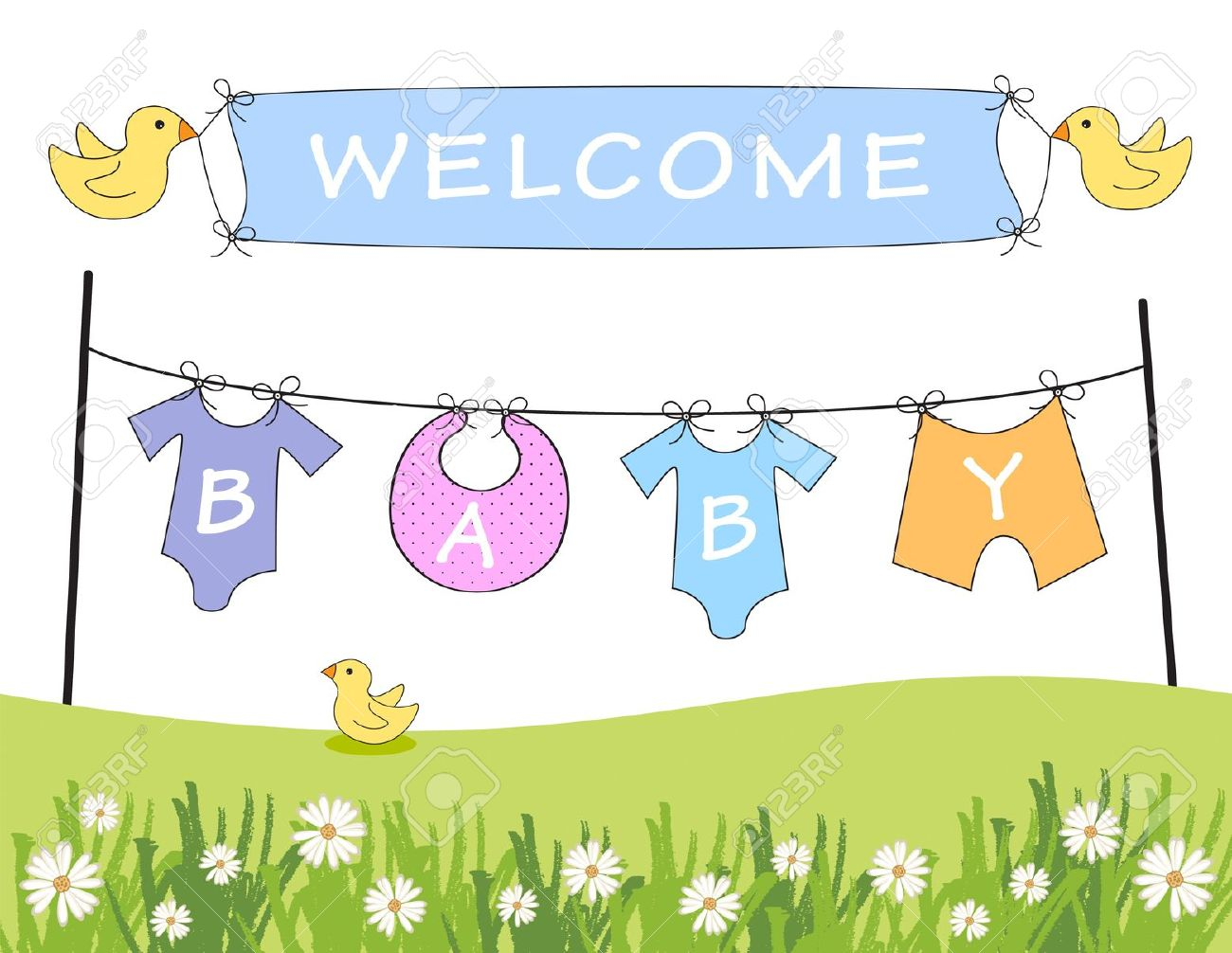 baby arrival announcement with clothes line and birds holding