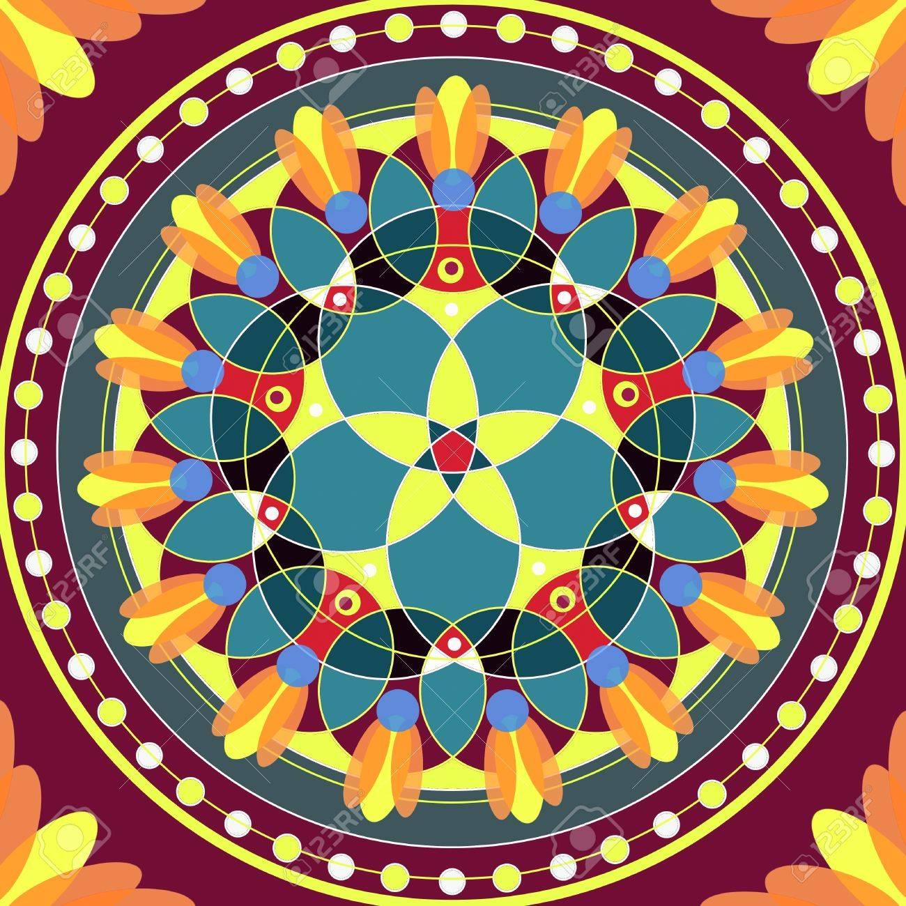 Mandala circular abstract pattern colorful floral kaleidoscopic image background Stock Photo - 13002427