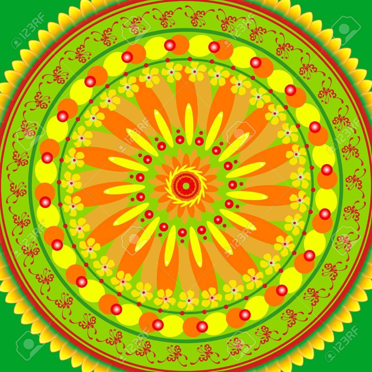 Mandala circular abstract pattern colorful floral kaleidoscopic image background Stock Photo - 13002429