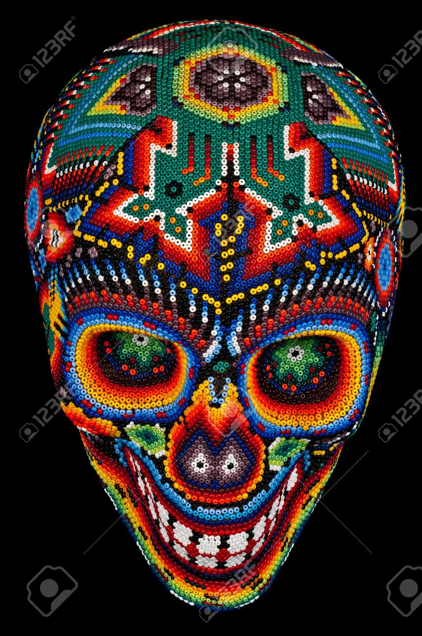 Colorful Beaded Skull From Mexican Traditional Huichol Bead Art