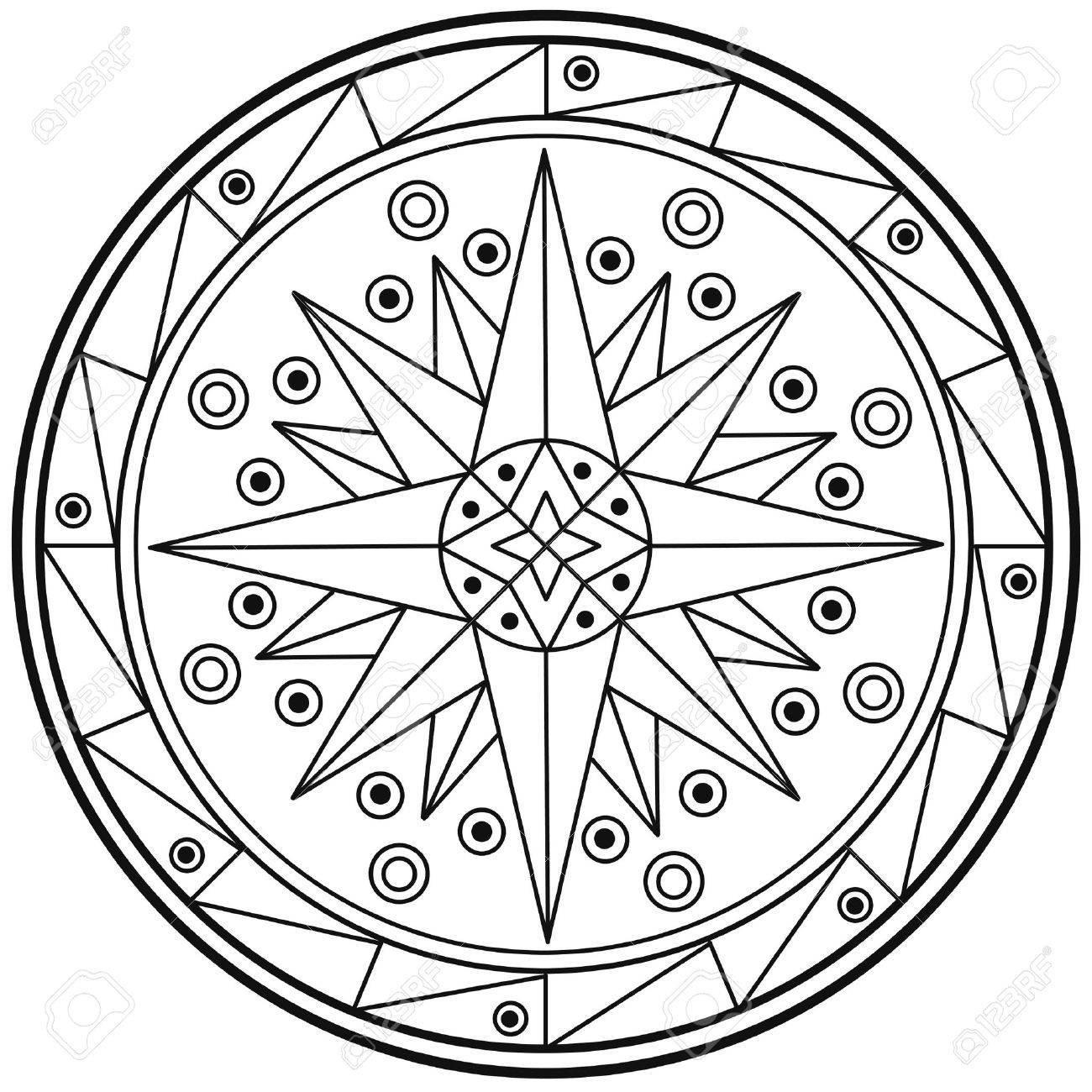 Geométricos Mandala Círculo Sagrado Blanco Y Negro Para Colorear Esquema