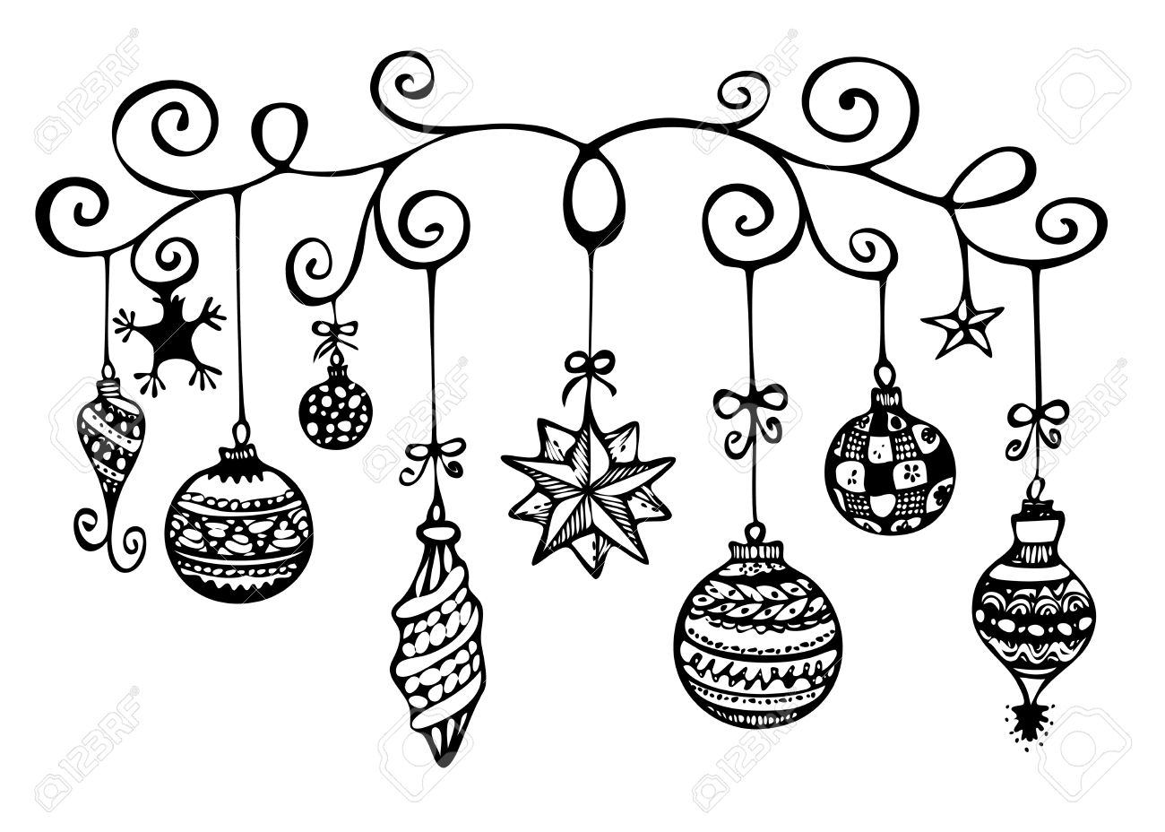 Black and white ornaments - Christmas Ornaments Sketch In Black And White Stock Photo 16979852