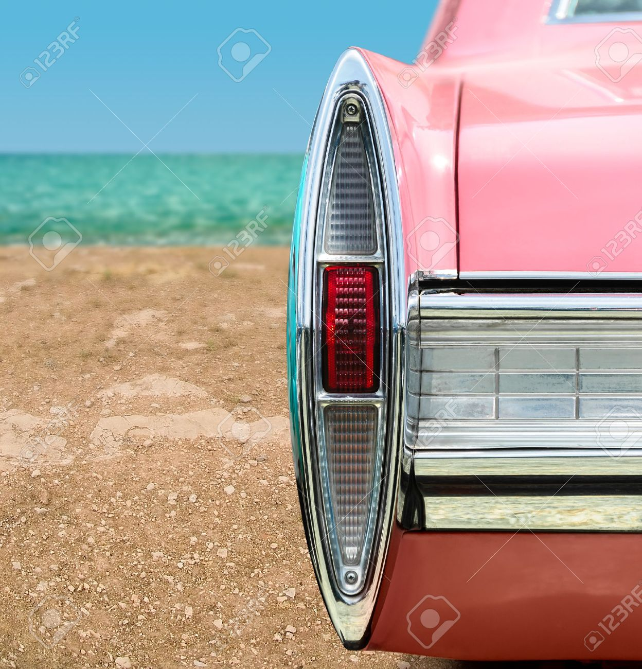 Vintage Pink Car On The Beach Stock Photo Picture And Royalty