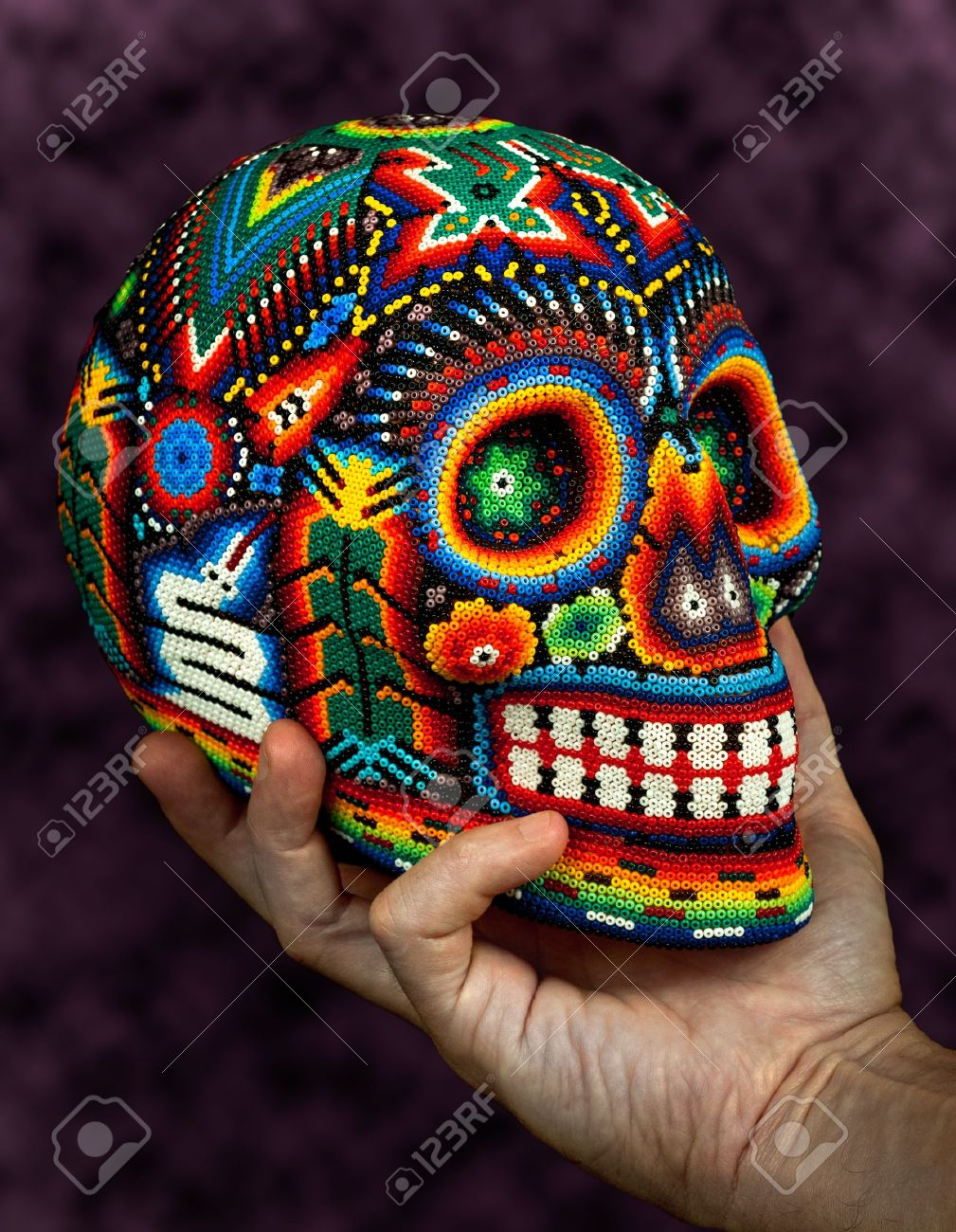 Colorful Beaded Skull From Mexican Traditional Huichol Bead Art Symbol Of The Day