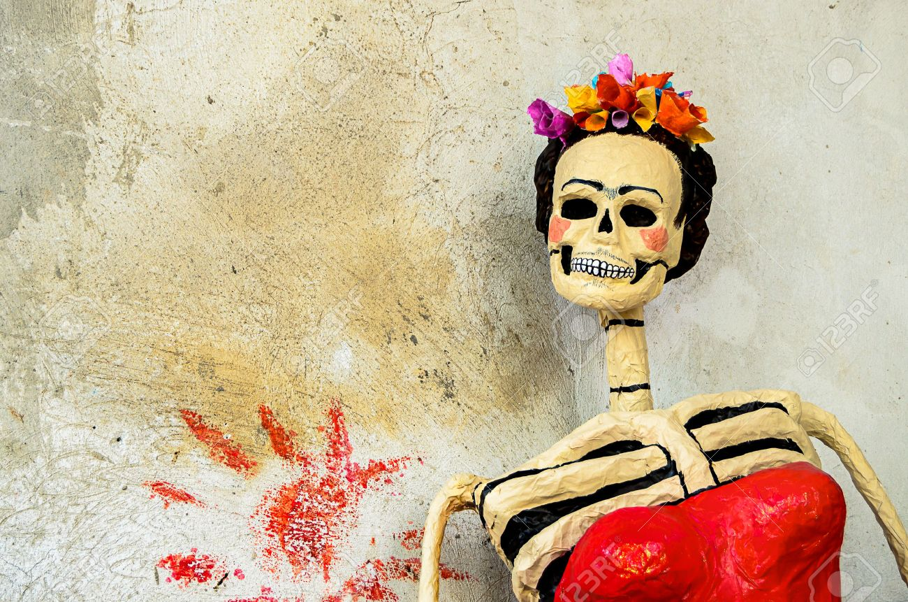 Day Of The Dead Traditional Mexican Catrina Skeleton On Old.. Stock ...
