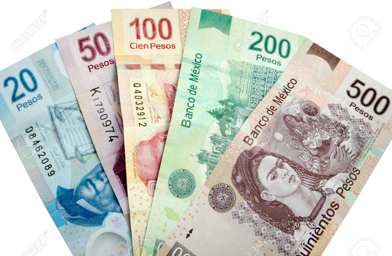Mexican Pesos Bank Notes Isolated On White Background Stock Photo