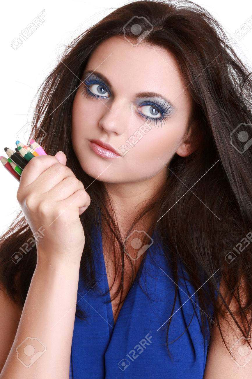 Blue dress makeup