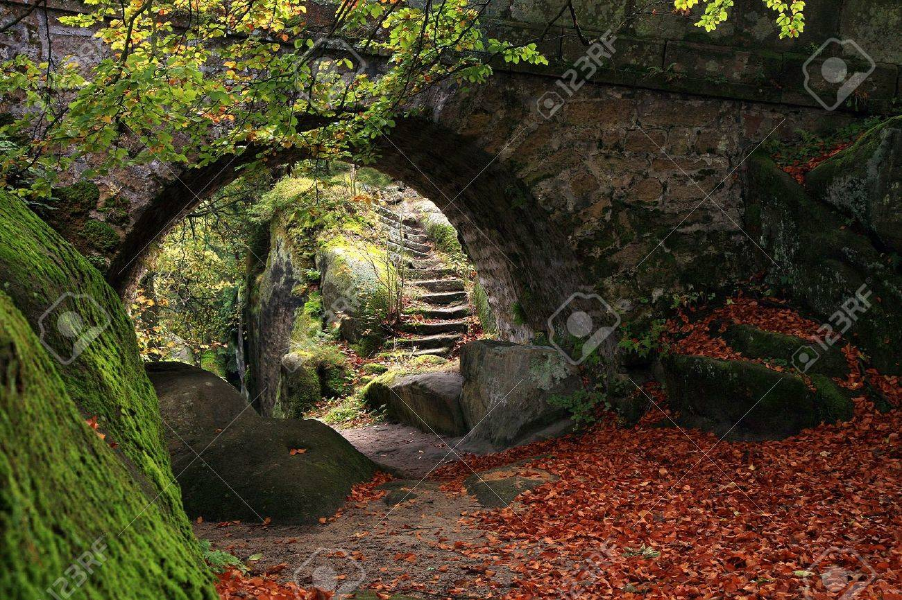Exceptionnel Stock Photo   The Secret Garden Landscaping Old Stone Bridge And Stairs