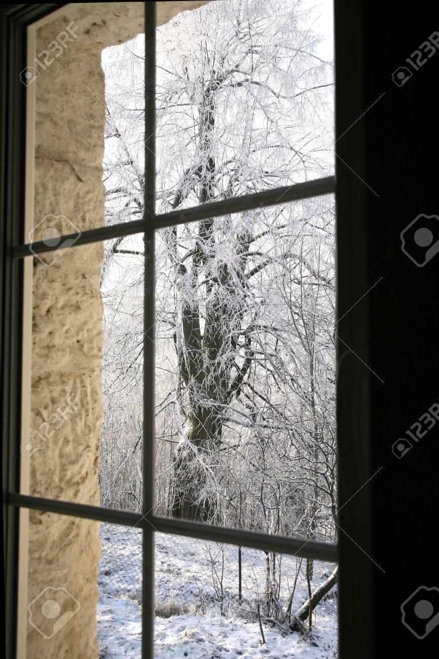Alt Landhaus Fenster Mit Winter Blick Auf Schneebedeckten Tilia