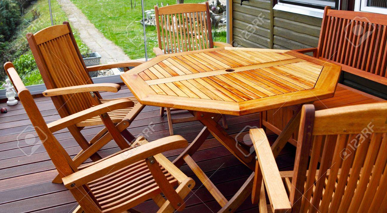 Stock Photo   Wood Patio Furniture Freshly Oiled
