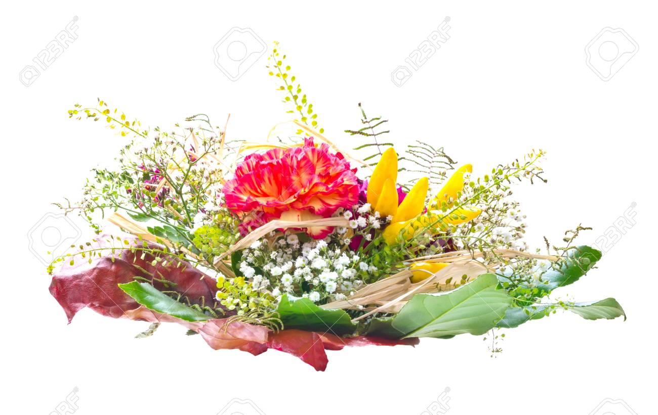 Ramo De Flores Arreglo Floral En El Otoño Aislado En Blanco
