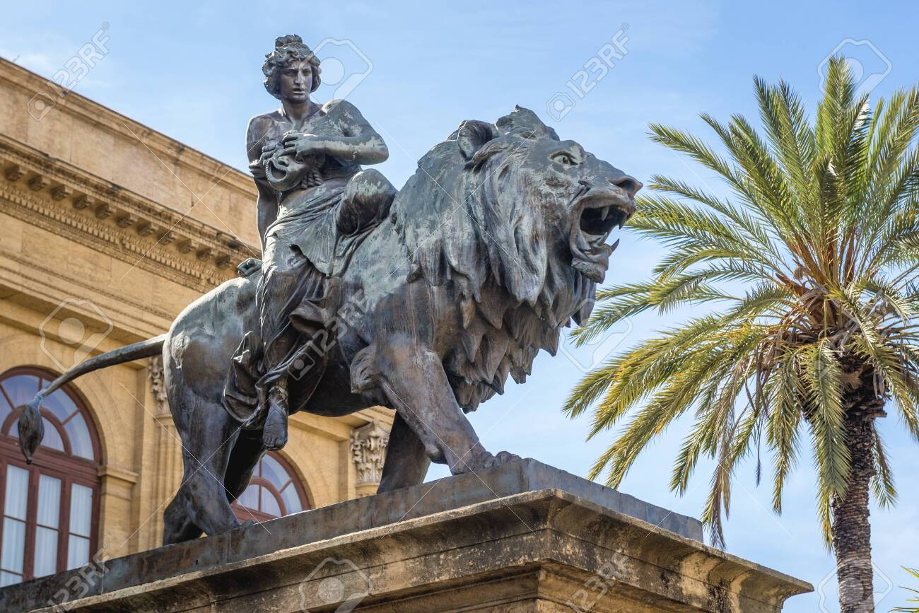 Statue of Melpomene - Muse of Tragedy in front of Teatro Massimo Vittorio Emanuele opera house in Palermo city, Sicily Island in Italy - 144932534