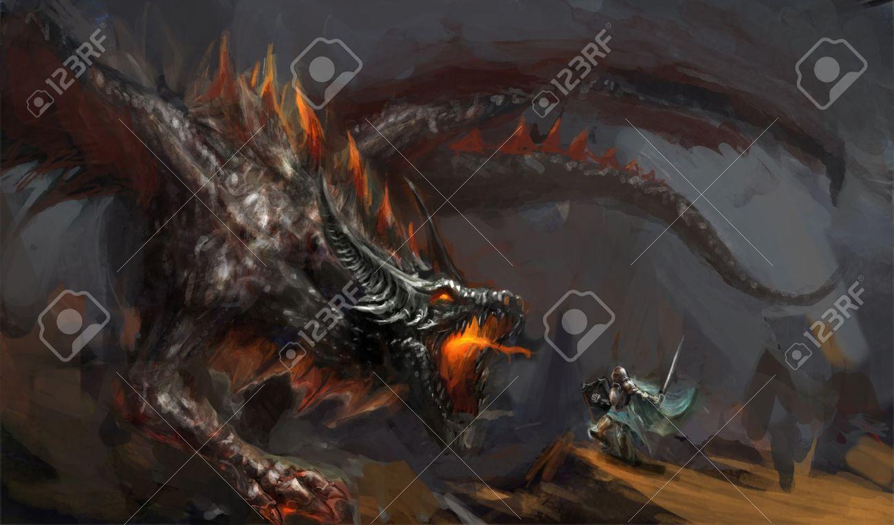 fantasy scene knight fighting dragon - 13913676