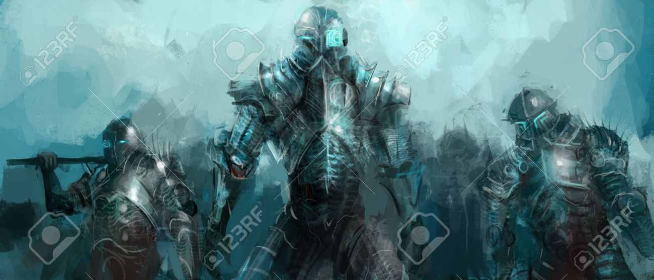 cybernetics army, concept art soldiers Stock Photo - 15393205