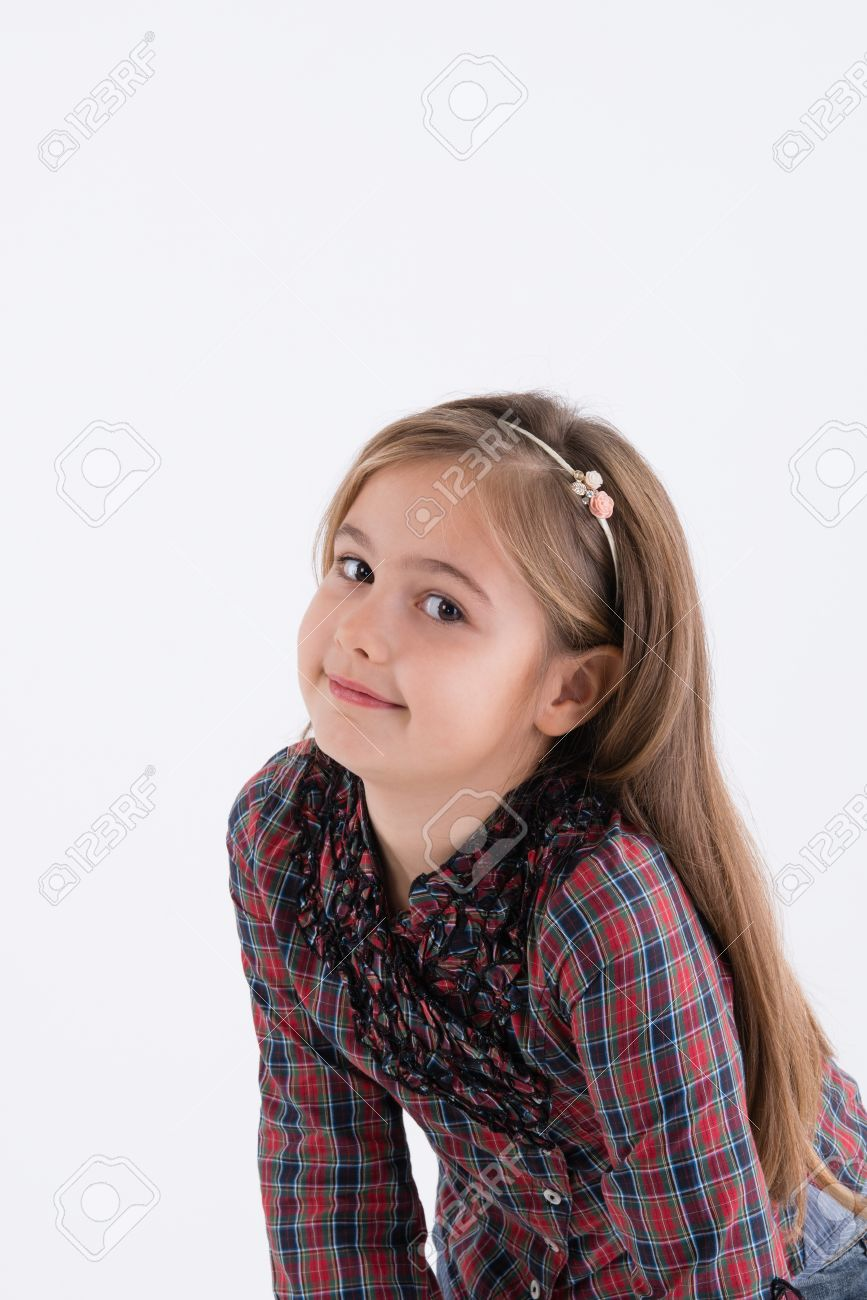 Cute Little Girl With Long Hair Stock Photo Picture And Royalty