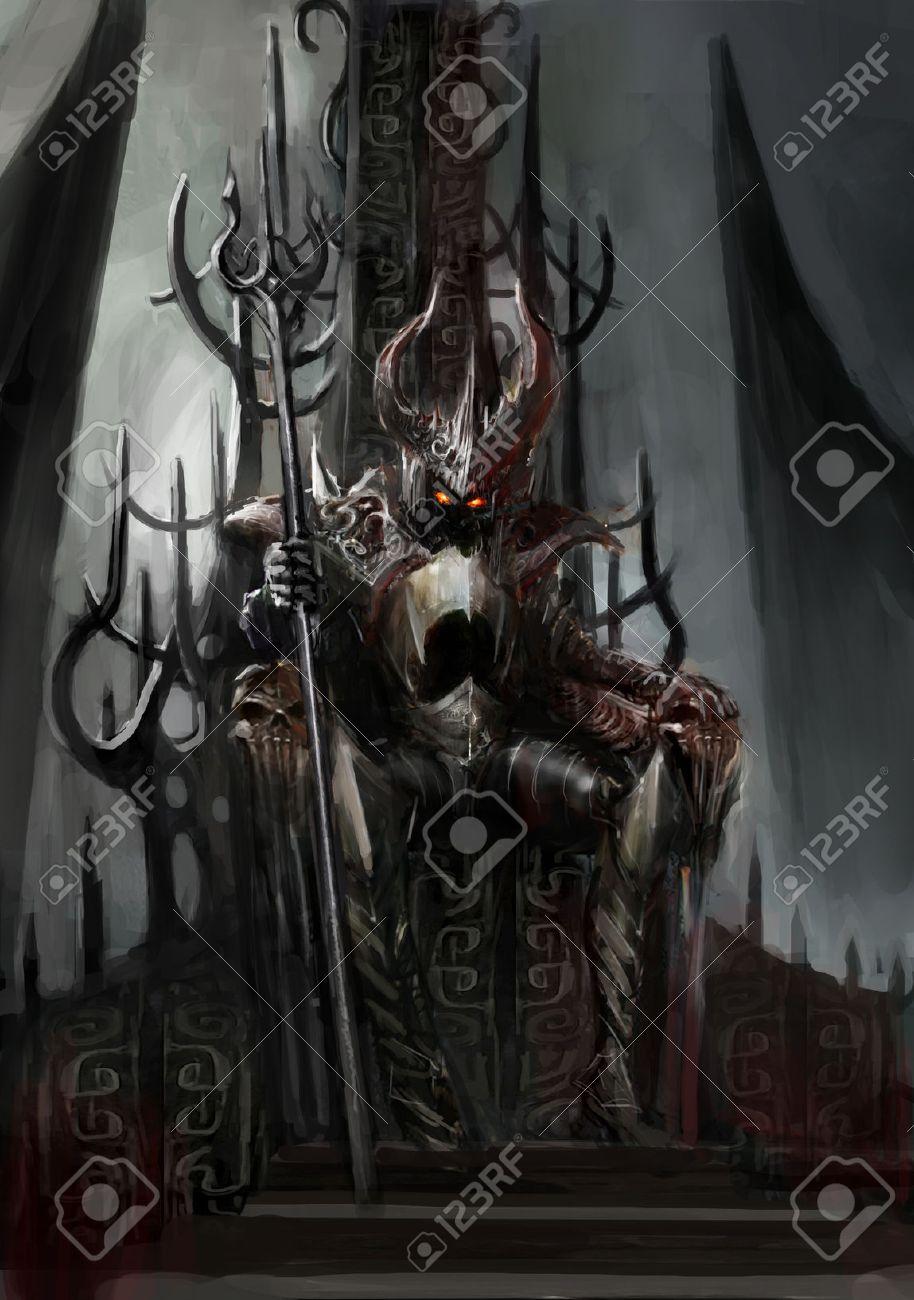 Evil kings throne room - Throne Of The Dark King Stock Photo 25214972