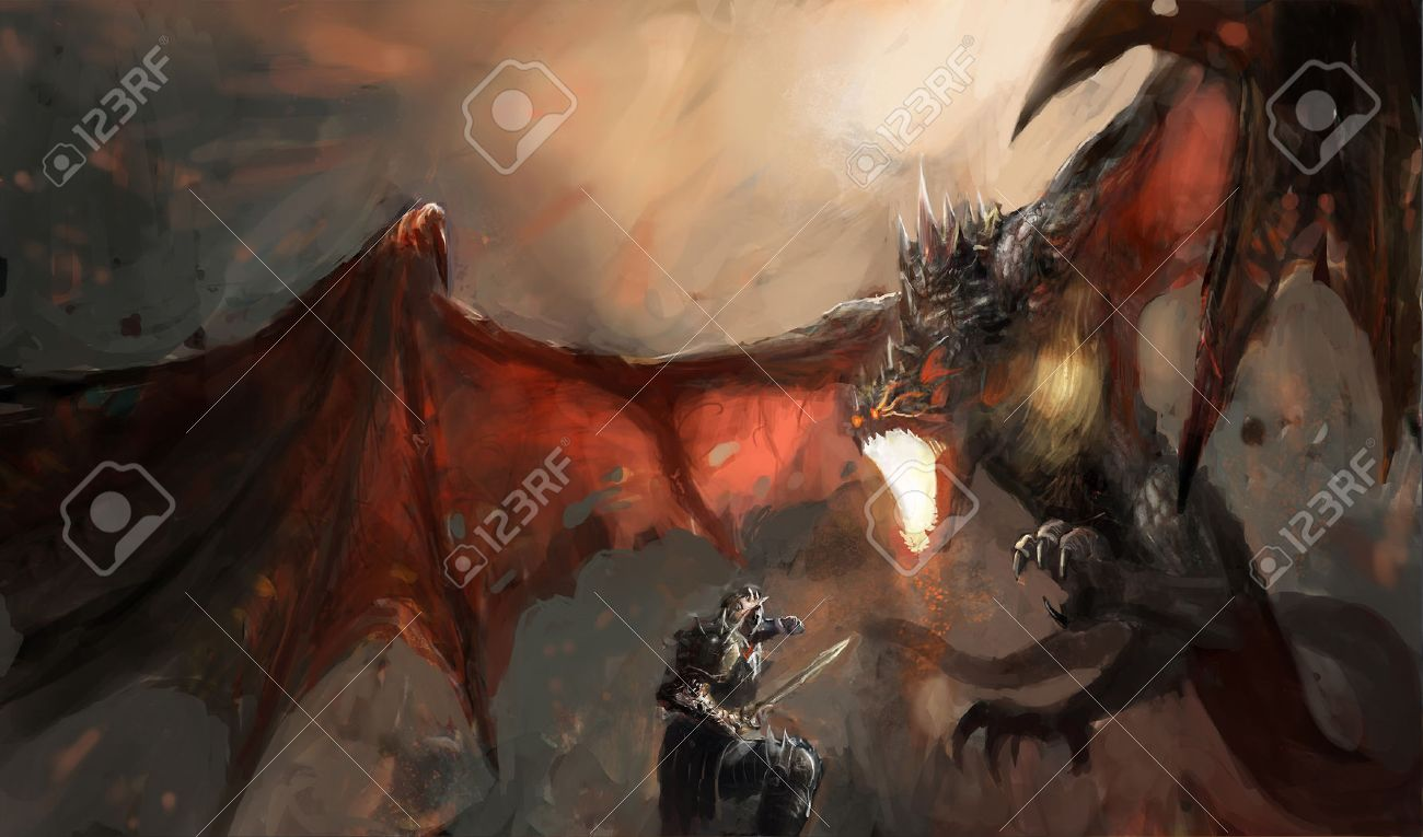 fantasy scene knight fighting dragon stock photo picture and