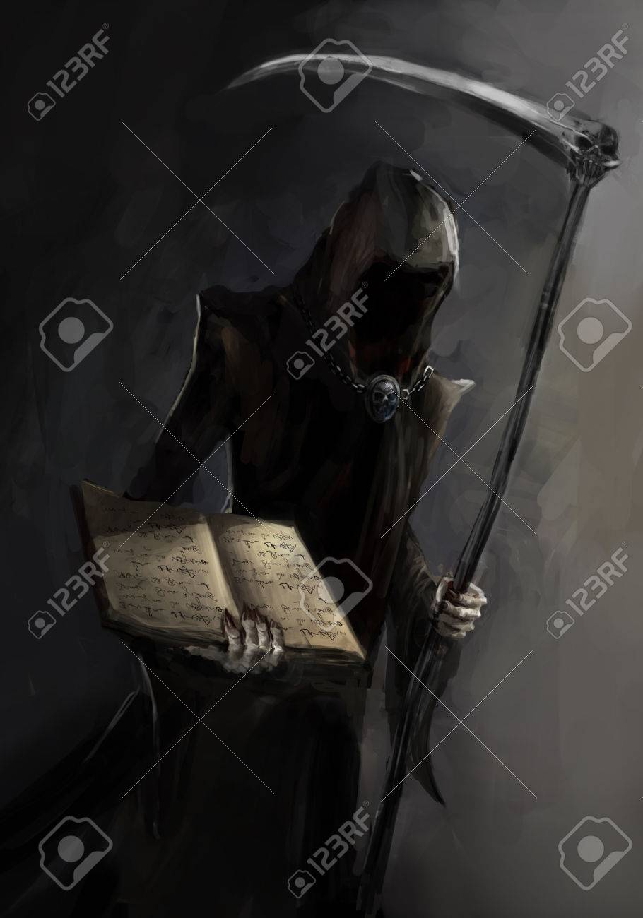 Grim Reaper With A Death Book Stock Photo Picture And Royalty Free