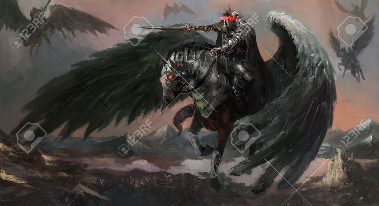 Dark Pegasus King Leading His Army Stock Photo Picture And Royalty