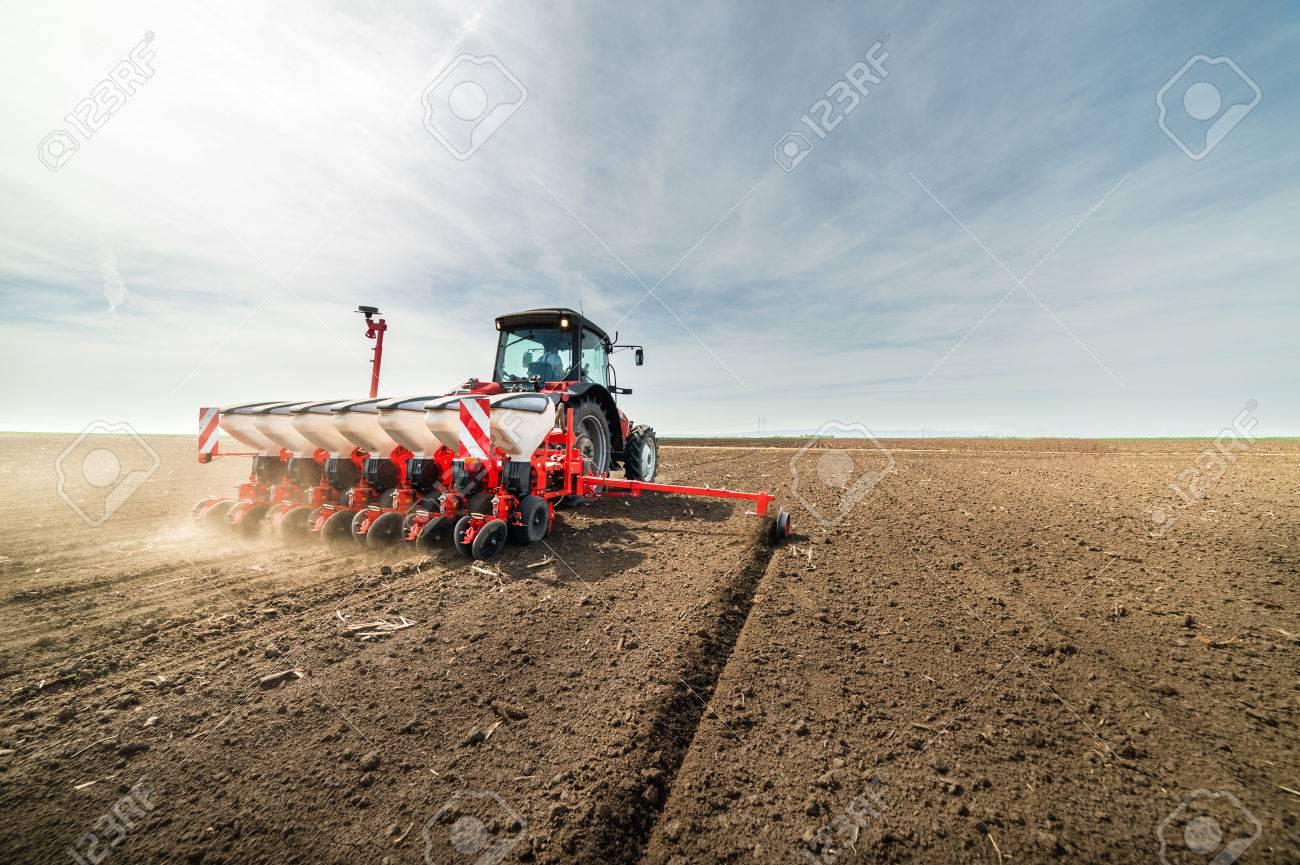 Farmer seeding crops at field - 56192430