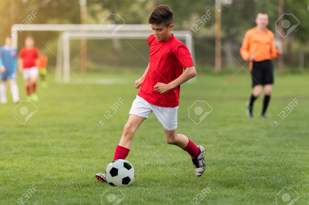 Kids soccer football - young children players match on soccer field - 85232154
