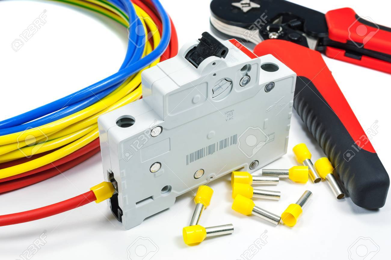 Connect The Circuit Breaker To The Power Cable On A White Background ...
