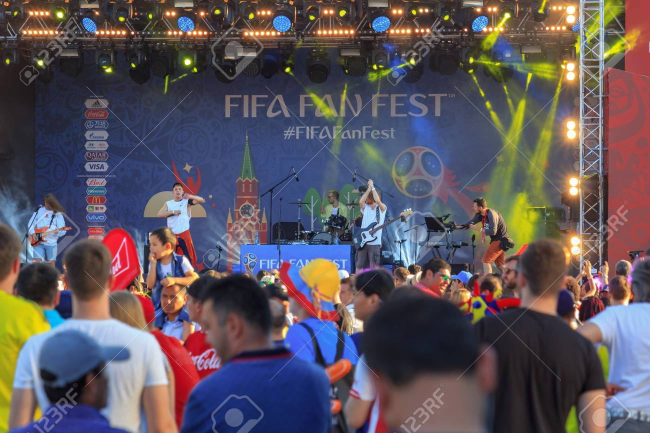 Moscow, Russia - June 28, 2018: Football fans near of main stage