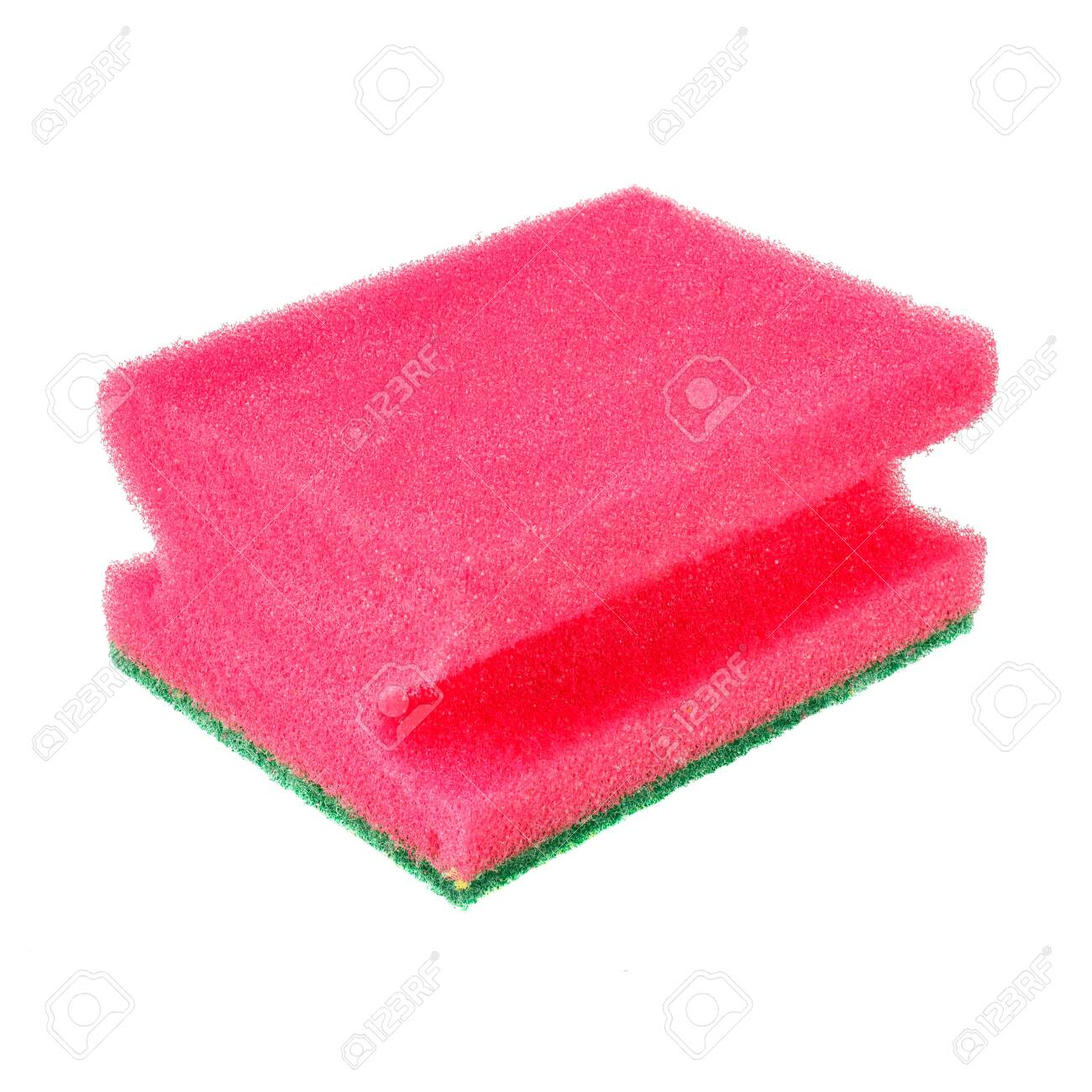 Pink foam rubber sponge for washing dishes isolated on white background - 140825943