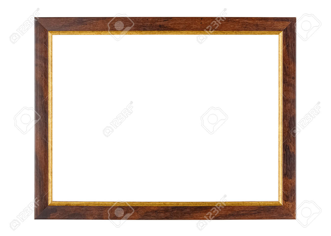 Empty dark brown wooden photo frame with golden border isolated on white background - 168431672