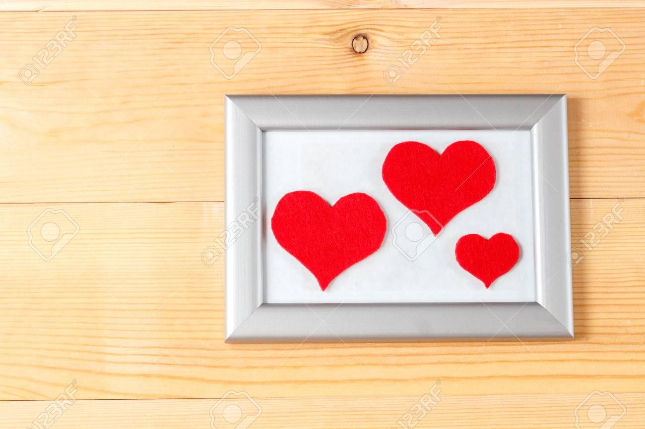 Marcos De Fotos Y Hechos A Mano Valentines Rojos Corazones Día Sobre ...