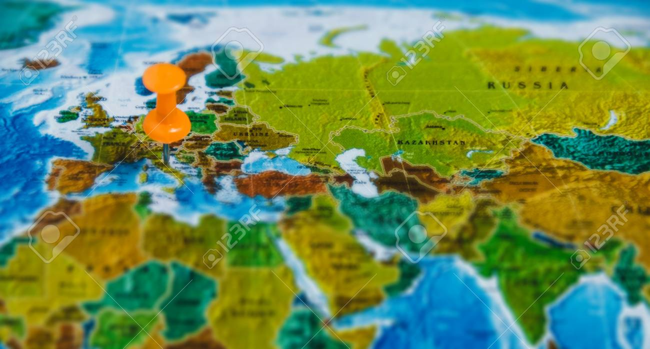 Travel destination points on world map indicated with colorful stock photo travel destination points on world map indicated with colorful thumbtacks and shallow depth of field gumiabroncs Images