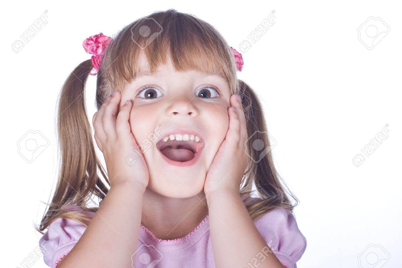 cheerful girl holding her cheeks with her hands Stock Photo - 9875108