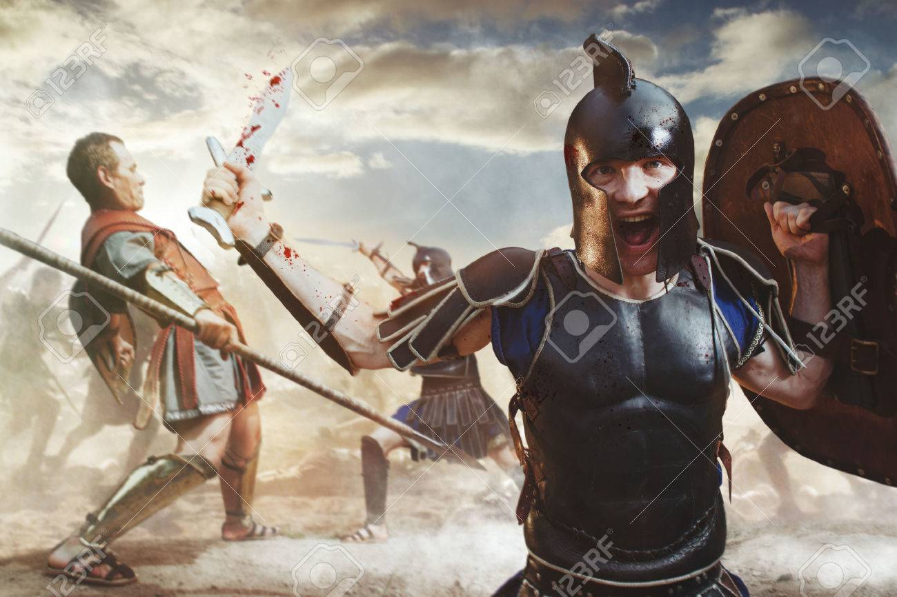 ancient greek warrior fighting in the combat stock photo picture