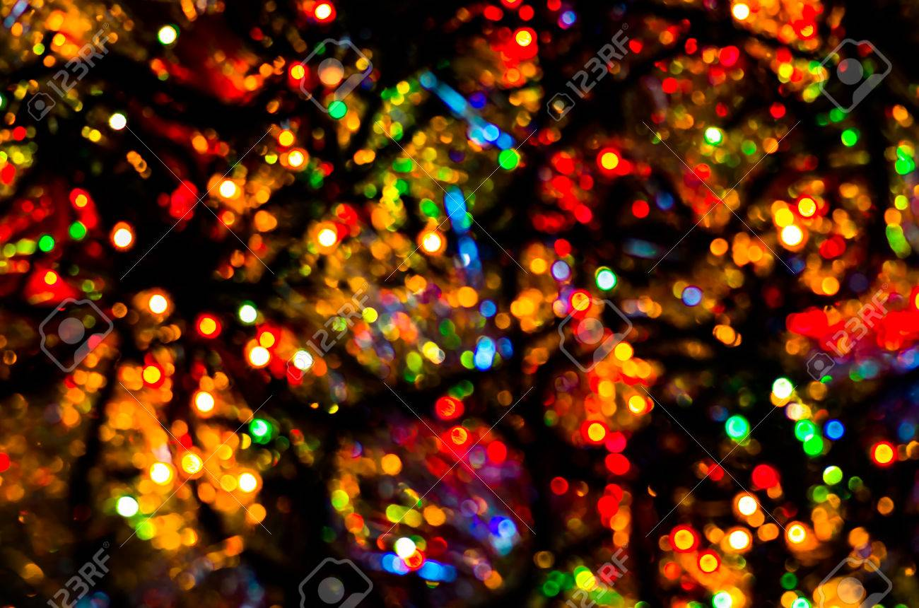 Colorful Christmas Lights Background.Colorful Beautiful Multi Colored Christmas Lights On A Black