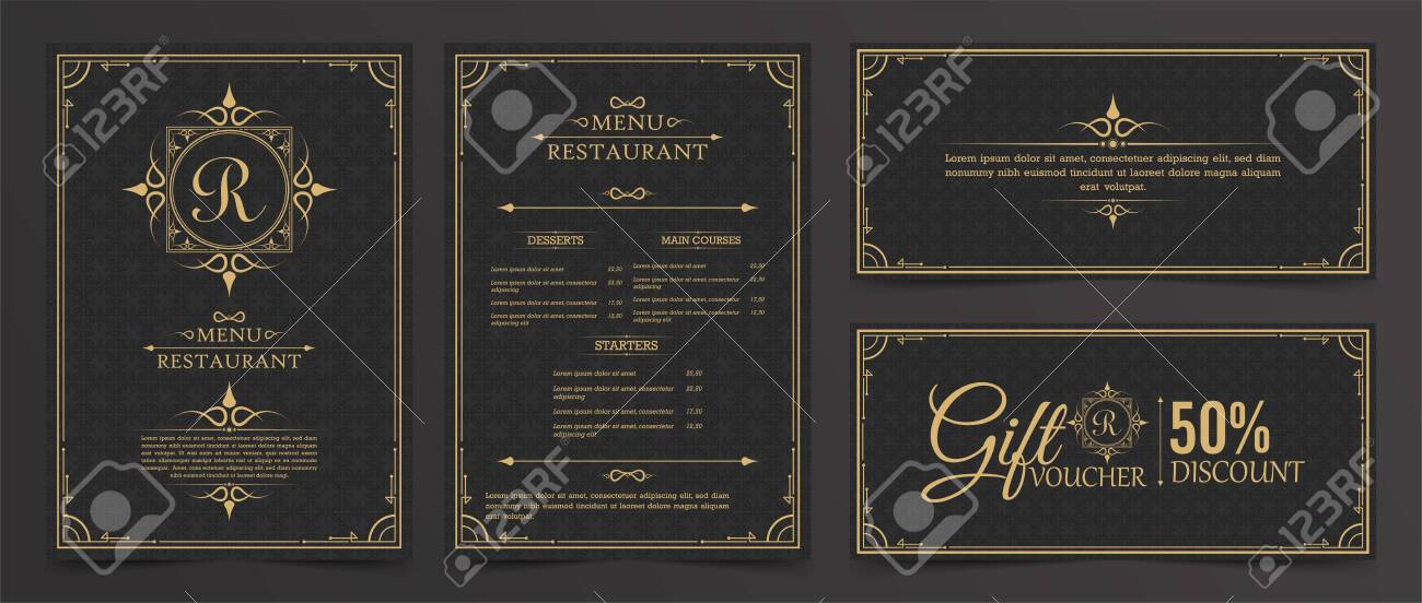 Menu Layout with Ornamental Elements. - 150210923