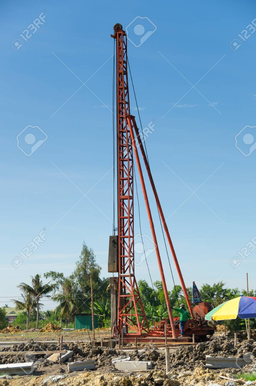 The piling machine in construction Job