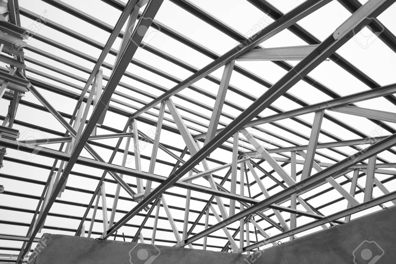 black and white photo structure of steel roof frame for construction Metal Bar black and white photo structure of steel roof frame for construction stock photo