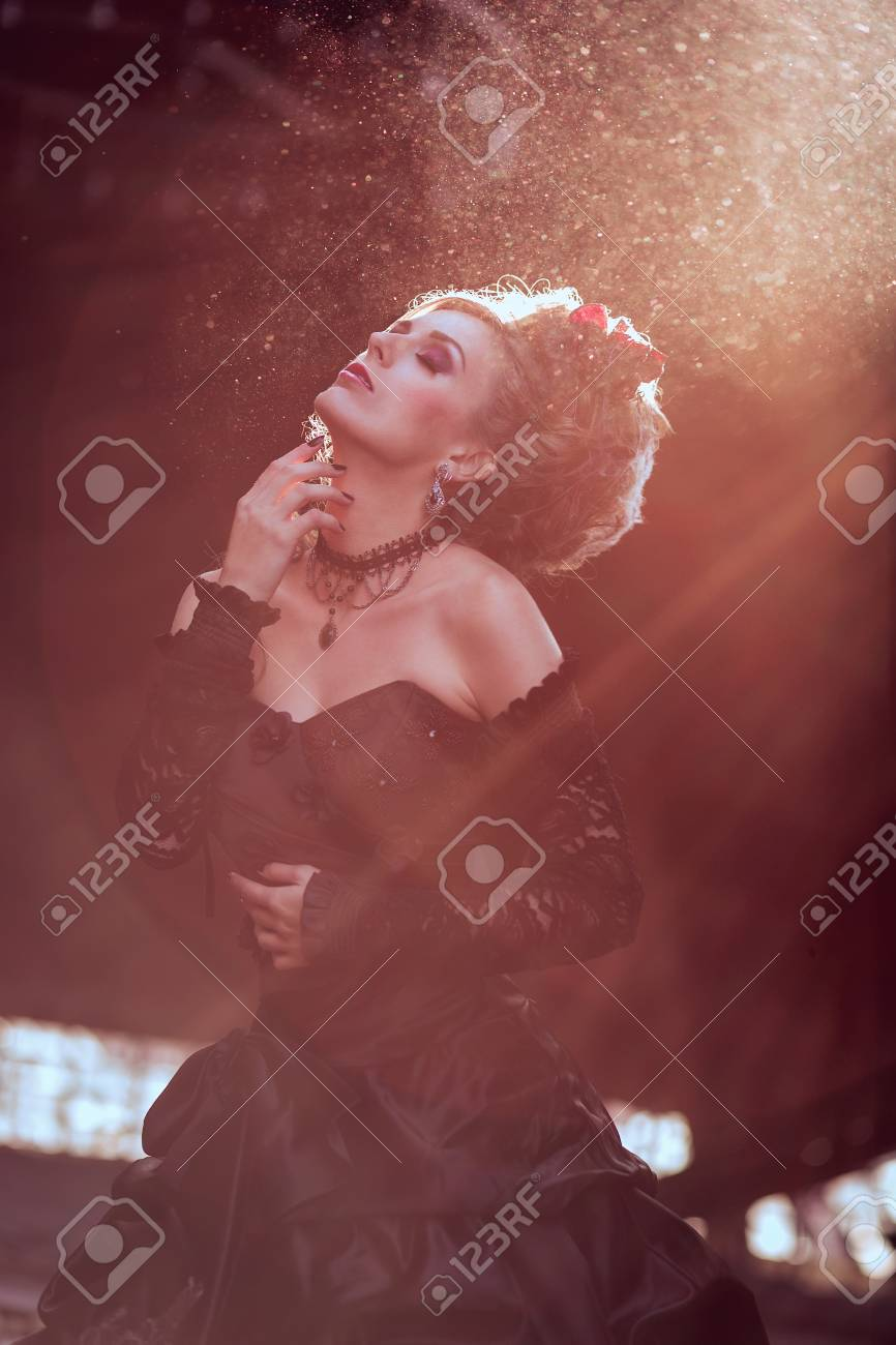 Mysterious woman dressed in gothic dress posing in ruined building Stock  Photo - 25110205 2173e4394