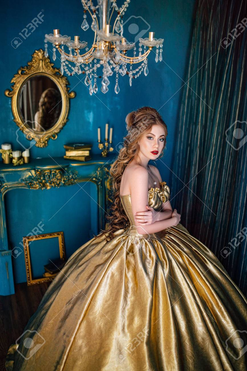 Beautiful Woman In A Ball Gown Stock Photo, Picture And Royalty Free ...