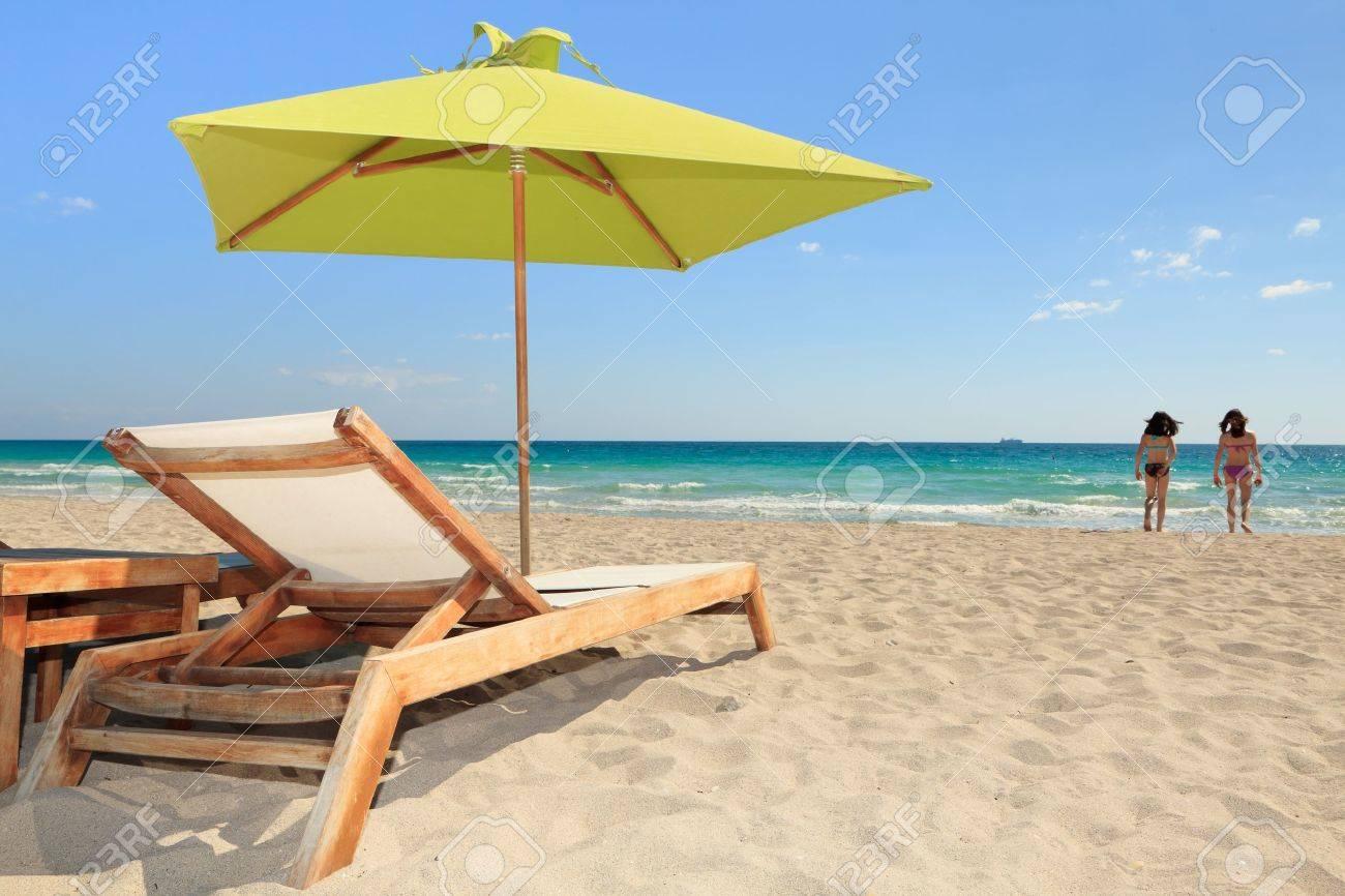 Elegant Miami South Beach Lounge Chair And Umbrella Stock Photo   9099756