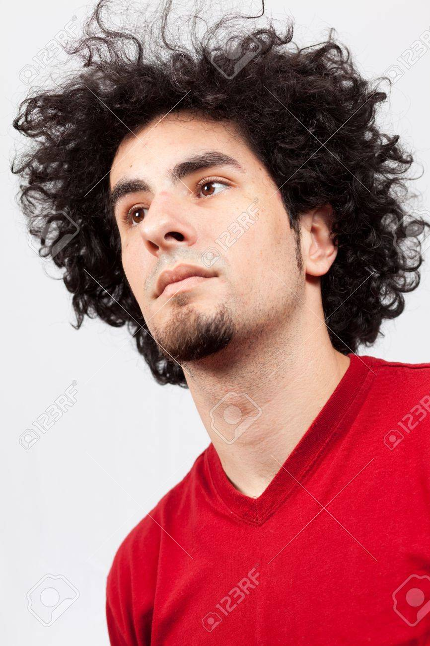 Handsome Young Man With Goatee And Long Curly Hair Stock Photo Picture And Royalty Free Image Image 9786805