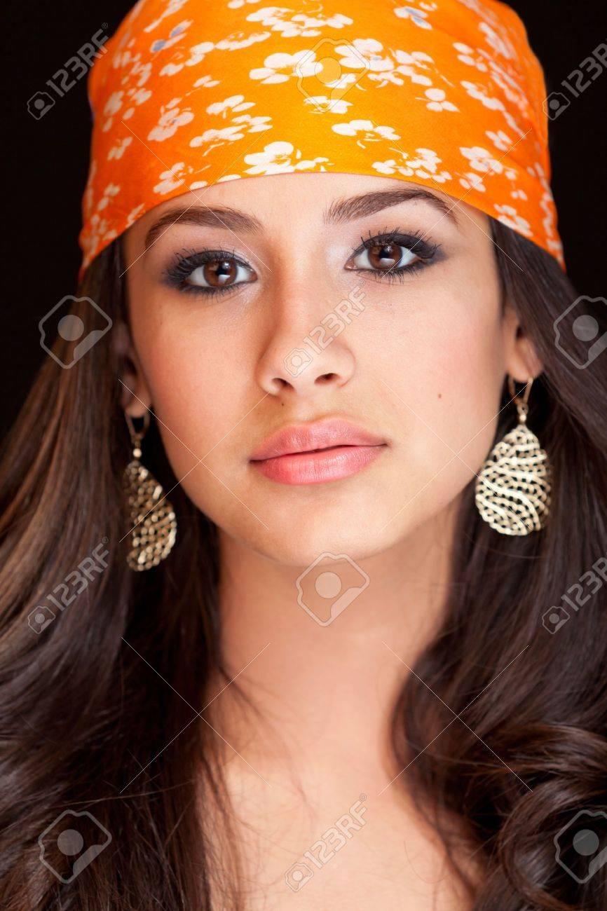 Beautiful Young Woman wearing a Bandana Stock Photo - 9786771