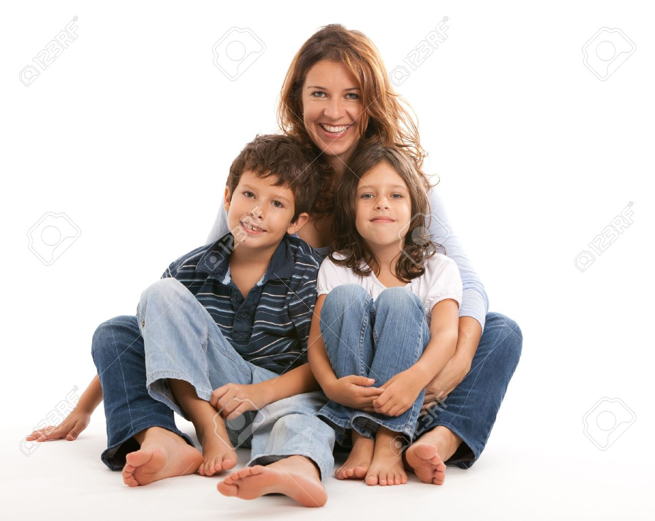 Mother, son and daughter on a white background - 10846306