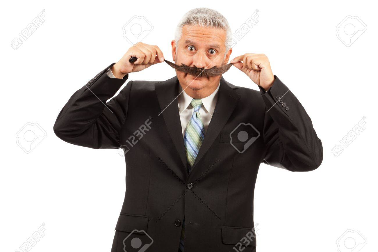Middle Age Business Man with Large Fake Mustache Stock Photo - 11277072