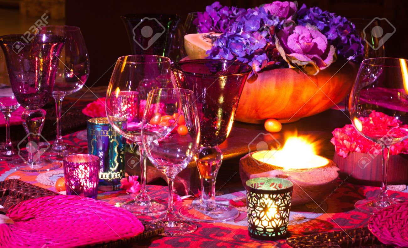 Elegant dinner table setting - Elegant Colorful Dinner Table Setting Stock Photo 12574318